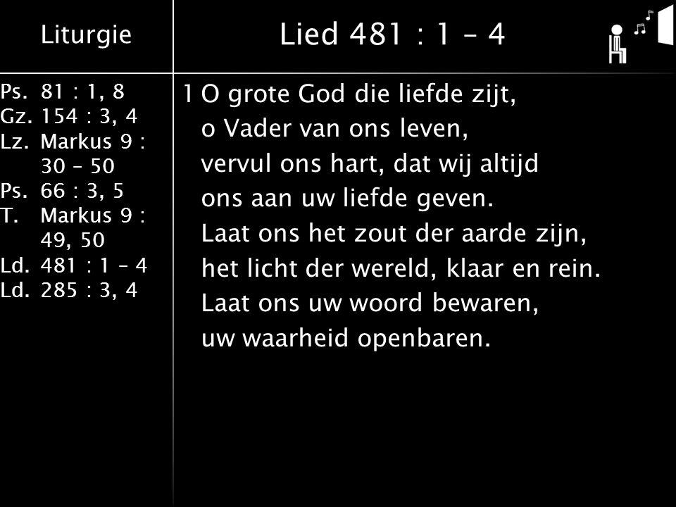 Liturgie Ps.81 : 1, 8 Gz.154 : 3, 4 Lz.Markus 9 : 30 – 50 Ps. 66 : 3, 5 T.Markus 9 : 49, 50 Ld.481 : 1 – 4 Ld.285 : 3, 4 1O grote God die liefde zijt,