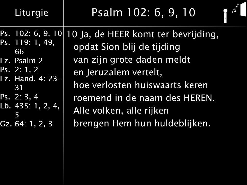 Liturgie Ps.102: 6, 9, 10 Ps. 119: 1, 49, 66 Lz.Psalm 2 Ps.2: 1, 2 Lz.Hand. 4: 23- 31 Ps.2: 3, 4 Lb. 435: 1, 2, 4, 5 Gz.64: 1, 2, 3 10Ja, de HEER komt