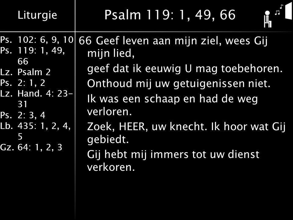 Liturgie Ps.102: 6, 9, 10 Ps. 119: 1, 49, 66 Lz.Psalm 2 Ps.2: 1, 2 Lz.Hand. 4: 23- 31 Ps.2: 3, 4 Lb. 435: 1, 2, 4, 5 Gz.64: 1, 2, 3 66Geef leven aan m