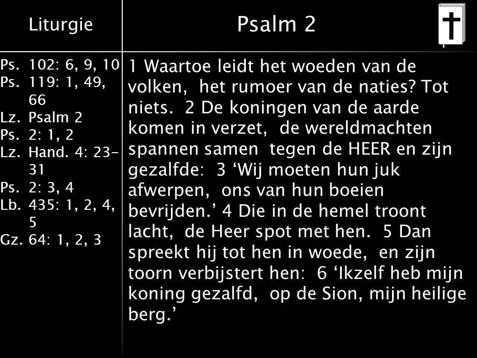 Liturgie Ps.102: 6, 9, 10 Ps. 119: 1, 49, 66 Lz.Psalm 2 Ps.2: 1, 2 Lz.Hand. 4: 23- 31 Ps.2: 3, 4 Lb. 435: 1, 2, 4, 5 Gz.64: 1, 2, 3 Psalm 2 1 Waartoe