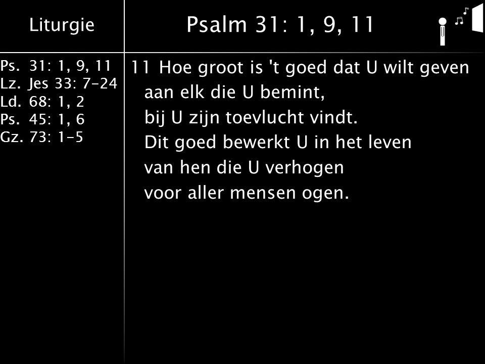 Liturgie Ps.31: 1, 9, 11 Lz.Jes 33: 7-24 Ld.68: 1, 2 Ps.45: 1, 6 Gz.73: 1-5 11Hoe groot is t goed dat U wilt geven aan elk die U bemint, bij U zijn toevlucht vindt.