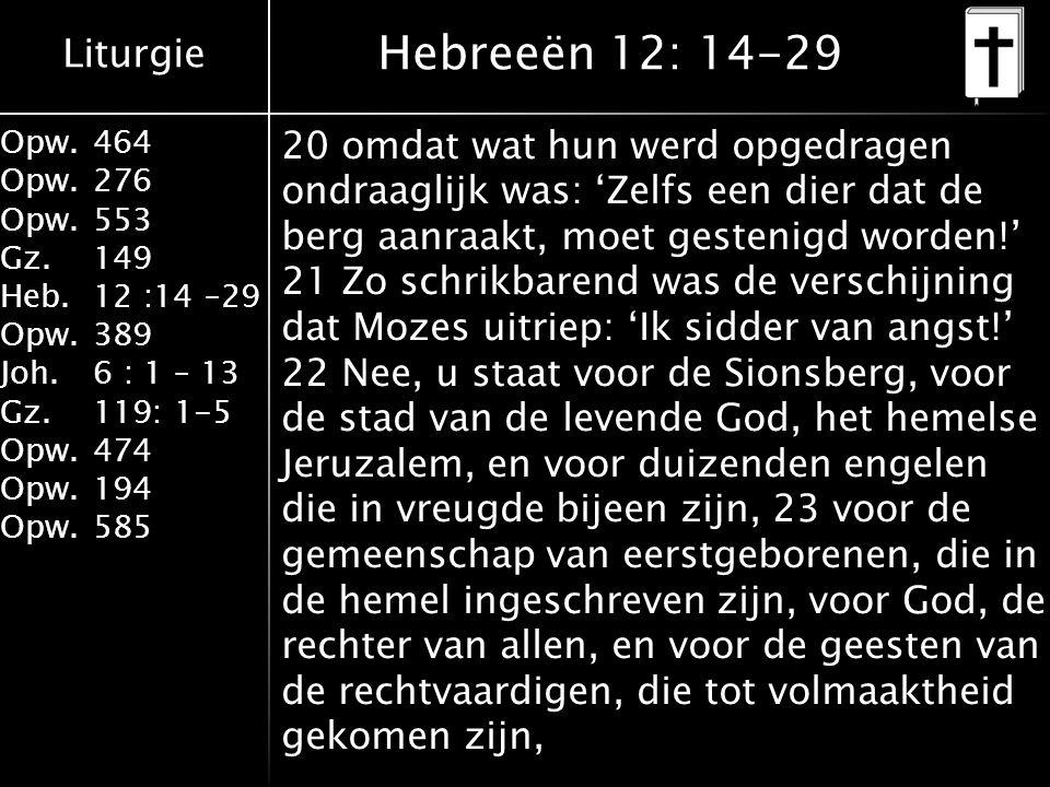 Liturgie Opw.464 Opw.276 Opw.553 Gz.149 Heb.12 :14 –29 Opw.389 Joh.6 : 1 – 13 Gz.119: 1-5 Opw.474 Opw.194 Opw.585 Hebreeën 12: 14-29 20 omdat wat hun werd opgedragen ondraaglijk was: 'Zelfs een dier dat de berg aanraakt, moet gestenigd worden!' 21 Zo schrikbarend was de verschijning dat Mozes uitriep: 'Ik sidder van angst!' 22 Nee, u staat voor de Sionsberg, voor de stad van de levende God, het hemelse Jeruzalem, en voor duizenden engelen die in vreugde bijeen zijn, 23 voor de gemeenschap van eerstgeborenen, die in de hemel ingeschreven zijn, voor God, de rechter van allen, en voor de geesten van de rechtvaardigen, die tot volmaaktheid gekomen zijn,