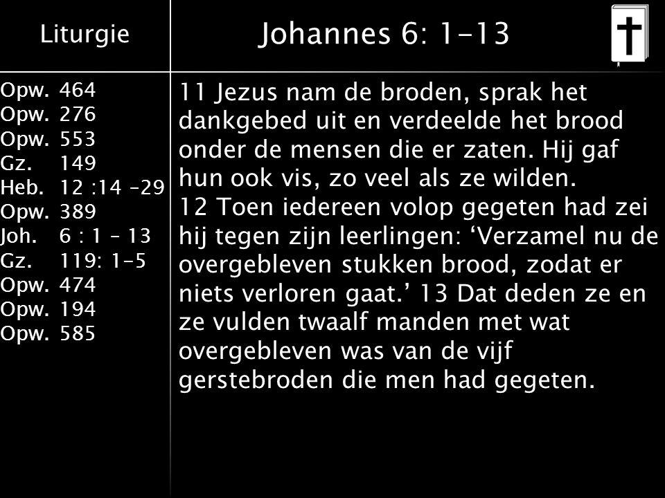 Liturgie Opw.464 Opw.276 Opw.553 Gz.149 Heb.12 :14 –29 Opw.389 Joh.6 : 1 – 13 Gz.119: 1-5 Opw.474 Opw.194 Opw.585 Johannes 6: 1-13 11 Jezus nam de broden, sprak het dankgebed uit en verdeelde het brood onder de mensen die er zaten.