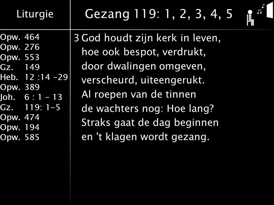 Liturgie Opw.464 Opw.276 Opw.553 Gz.149 Heb.12 :14 –29 Opw.389 Joh.6 : 1 – 13 Gz.119: 1-5 Opw.474 Opw.194 Opw.585 3God houdt zijn kerk in leven, hoe ook bespot, verdrukt, door dwalingen omgeven, verscheurd, uiteengerukt.