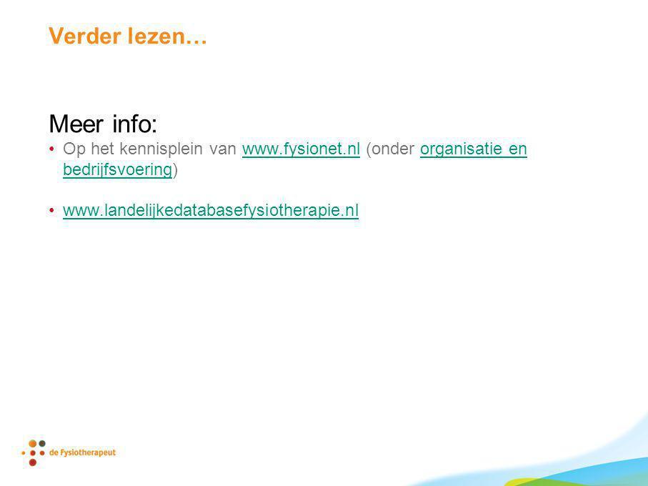 Verder lezen… Meer info: Op het kennisplein van www.fysionet.nl (onder organisatie en bedrijfsvoering)www.fysionet.nlorganisatie en bedrijfsvoering ww