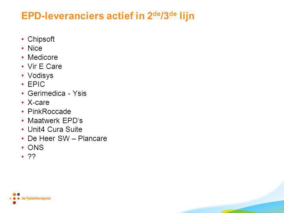 EPD-leveranciers actief in 2 de /3 de lijn Chipsoft Nice Medicore Vir E Care Vodisys EPIC Gerimedica - Ysis X-care PinkRoccade Maatwerk EPD's Unit4 Cu