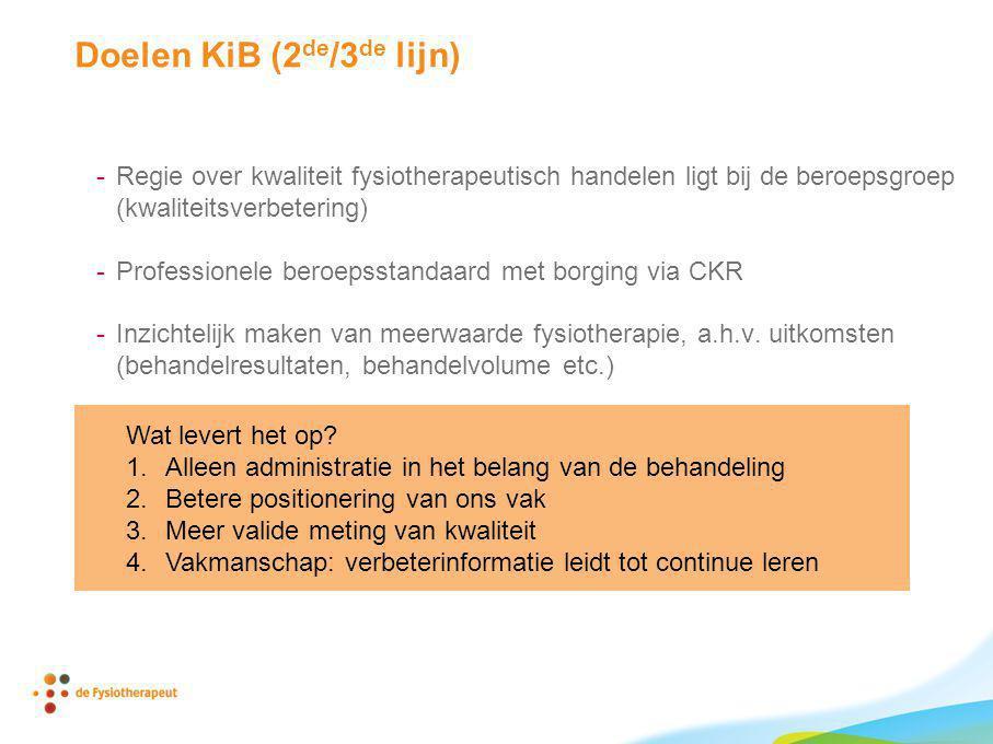 Doelen KiB (2 de /3 de lijn) -Regie over kwaliteit fysiotherapeutisch handelen ligt bij de beroepsgroep (kwaliteitsverbetering) -Professionele beroeps