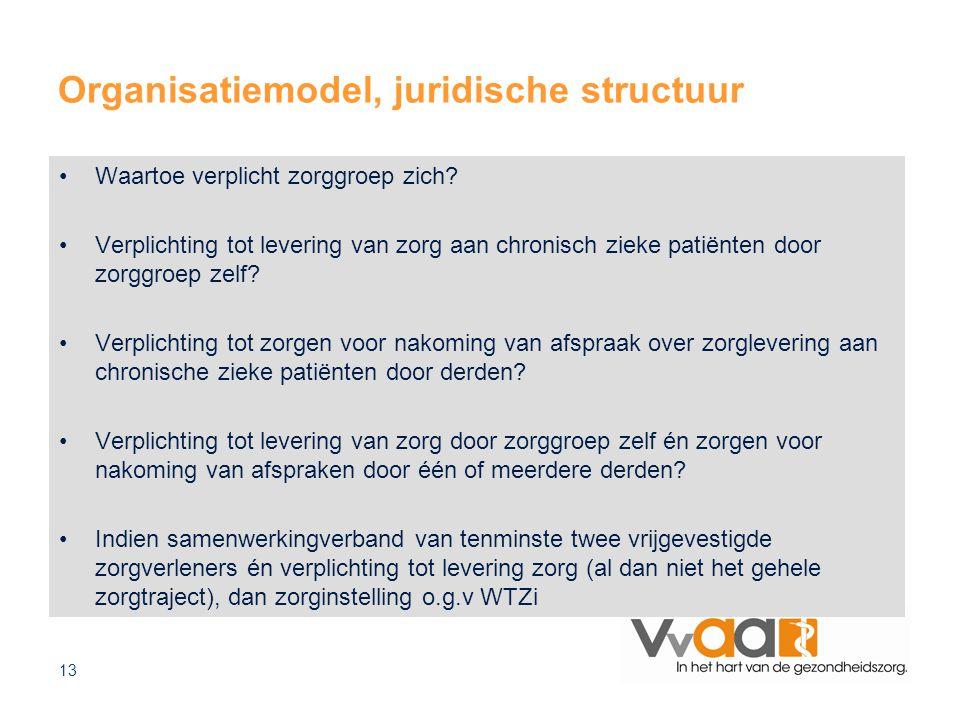 13 Organisatiemodel, juridische structuur Waartoe verplicht zorggroep zich? Verplichting tot levering van zorg aan chronisch zieke patiënten door zorg