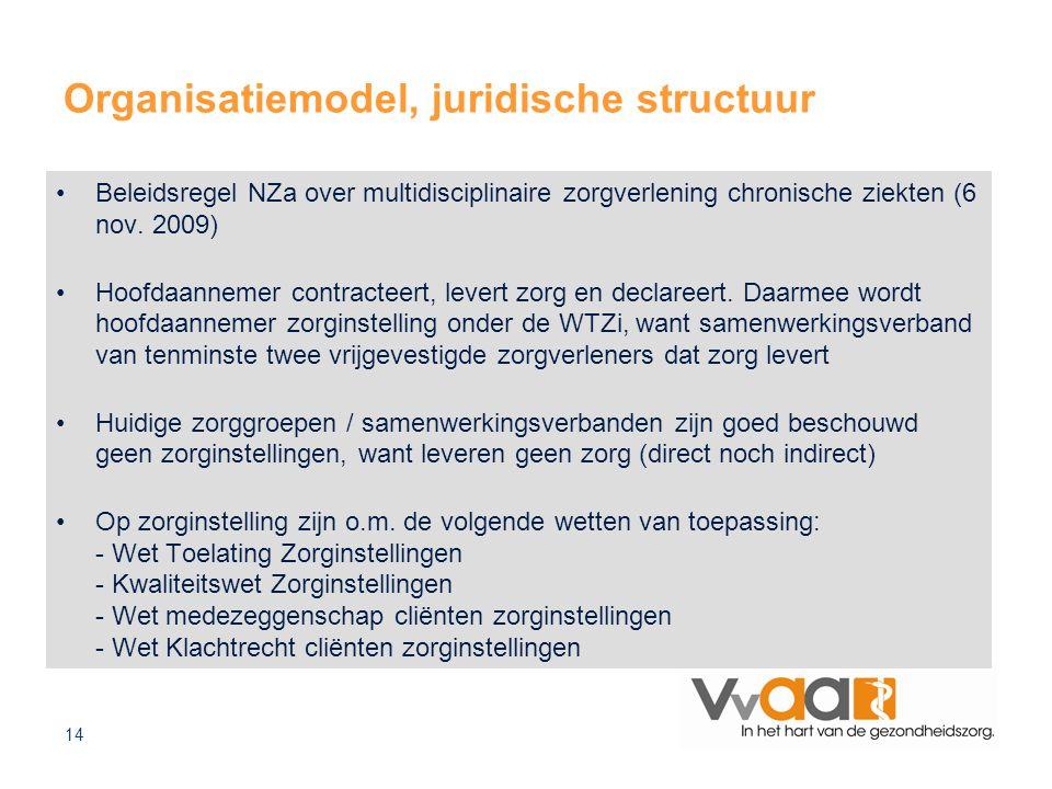 14 Organisatiemodel, juridische structuur Beleidsregel NZa over multidisciplinaire zorgverlening chronische ziekten (6 nov. 2009) Hoofdaannemer contra
