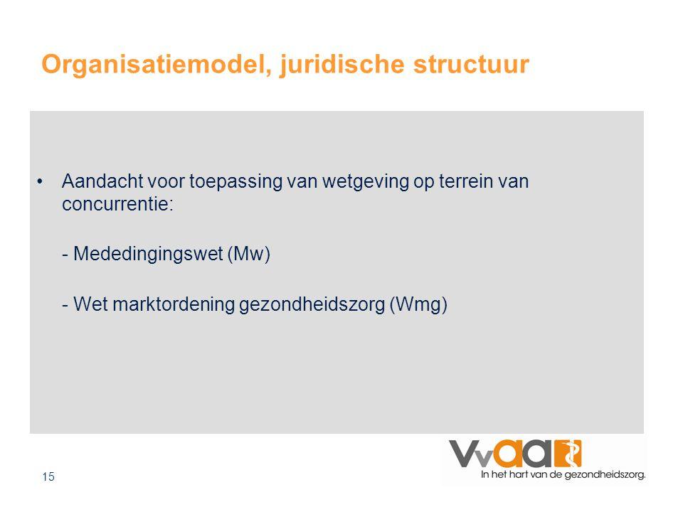 15 Organisatiemodel, juridische structuur Aandacht voor toepassing van wetgeving op terrein van concurrentie: - Mededingingswet (Mw) - Wet marktordening gezondheidszorg (Wmg)