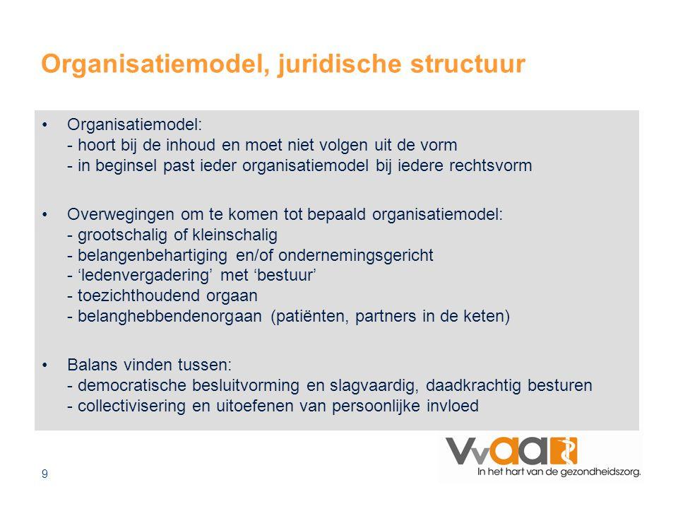 9 Organisatiemodel, juridische structuur Organisatiemodel: - hoort bij de inhoud en moet niet volgen uit de vorm - in beginsel past ieder organisatiemodel bij iedere rechtsvorm Overwegingen om te komen tot bepaald organisatiemodel: - grootschalig of kleinschalig - belangenbehartiging en/of ondernemingsgericht - 'ledenvergadering' met 'bestuur' - toezichthoudend orgaan - belanghebbendenorgaan (patiënten, partners in de keten) Balans vinden tussen: - democratische besluitvorming en slagvaardig, daadkrachtig besturen - collectivisering en uitoefenen van persoonlijke invloed