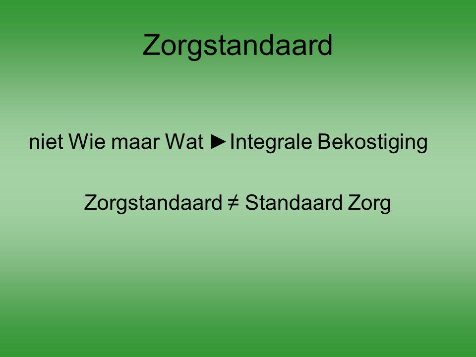Zorgstandaard niet Wie maar Wat ►Integrale Bekostiging Zorgstandaard ≠ Standaard Zorg