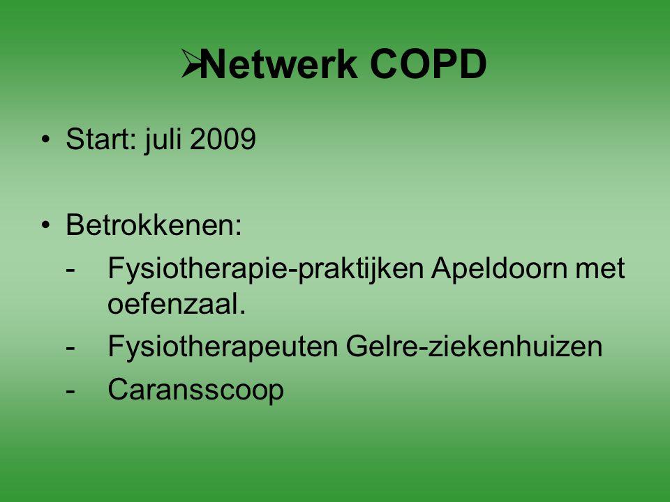  Netwerk COPD Start: juli 2009 Betrokkenen: - Fysiotherapie-praktijken Apeldoorn met oefenzaal. - Fysiotherapeuten Gelre-ziekenhuizen -Caransscoop