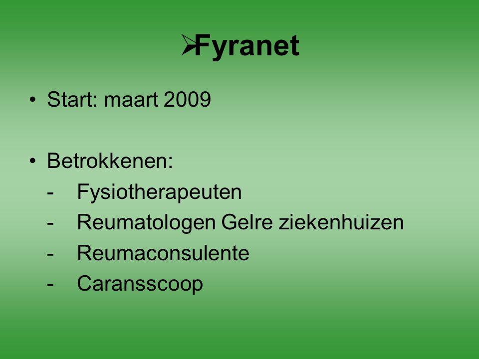  Fyranet Start: maart 2009 Betrokkenen: -Fysiotherapeuten -Reumatologen Gelre ziekenhuizen -Reumaconsulente - Caransscoop