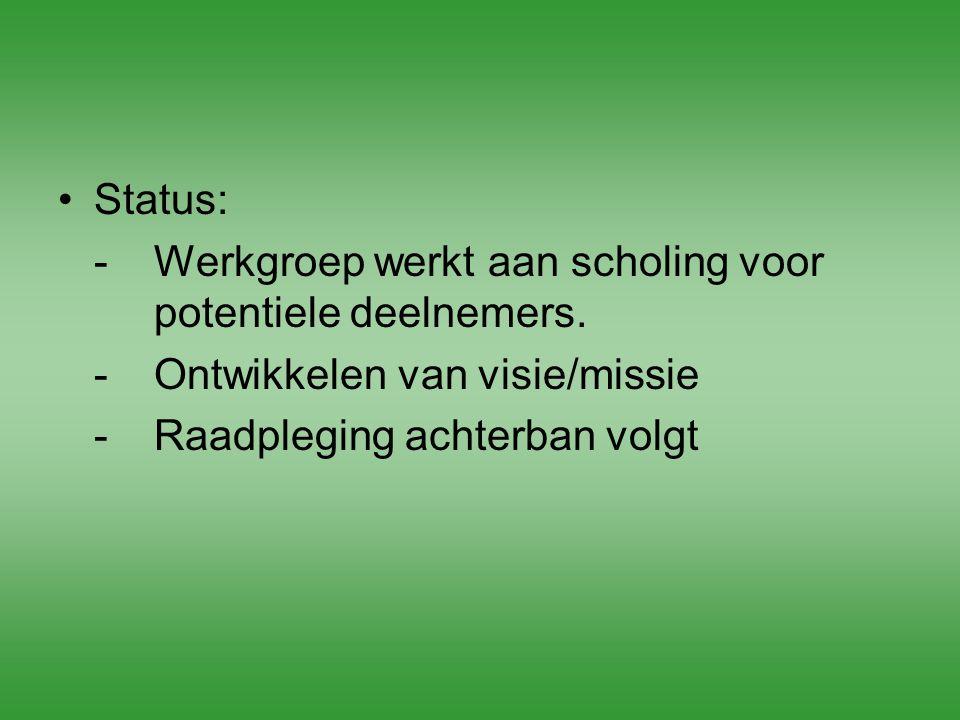 Status: -Werkgroep werkt aan scholing voor potentiele deelnemers. -Ontwikkelen van visie/missie -Raadpleging achterban volgt