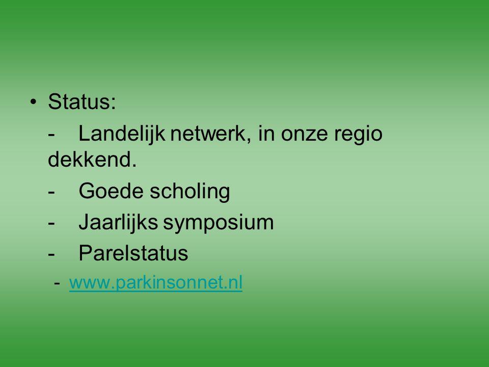Status: -Landelijk netwerk, in onze regio dekkend. -Goede scholing -Jaarlijks symposium -Parelstatus -www.parkinsonnet.nlwww.parkinsonnet.nl