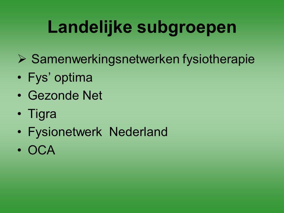 Landelijke subgroepen  Samenwerkingsnetwerken fysiotherapie Fys' optima Gezonde Net Tigra Fysionetwerk Nederland OCA