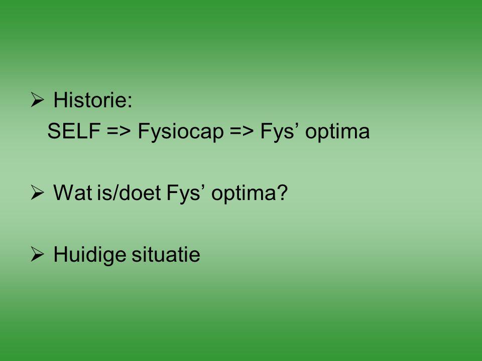  Historie: SELF => Fysiocap => Fys' optima  Wat is/doet Fys' optima?  Huidige situatie