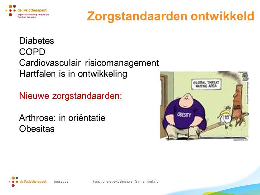 Zorgstandaarden ontwikkeld Diabetes COPD Cardiovasculair risicomanagement Hartfalen is in ontwikkeling Nieuwe zorgstandaarden: Arthrose: in oriëntatie Obesitas juni 2009.