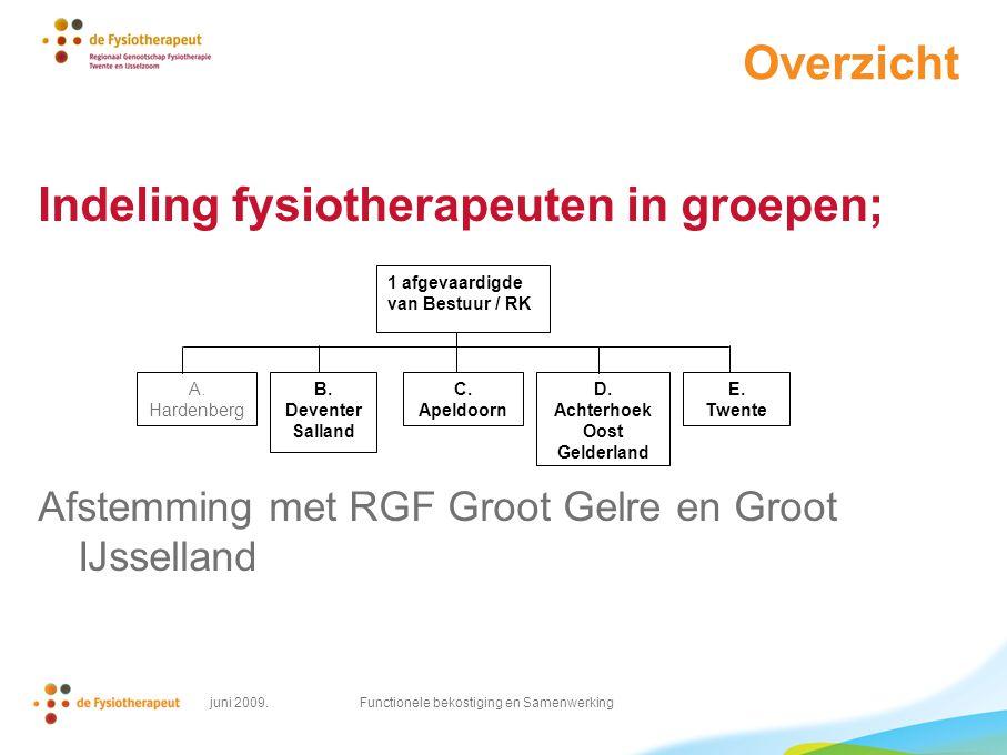 juni 2009. Functionele bekostiging en Samenwerking Overzicht Indeling fysiotherapeuten in groepen; Afstemming met RGF Groot Gelre en Groot IJsselland