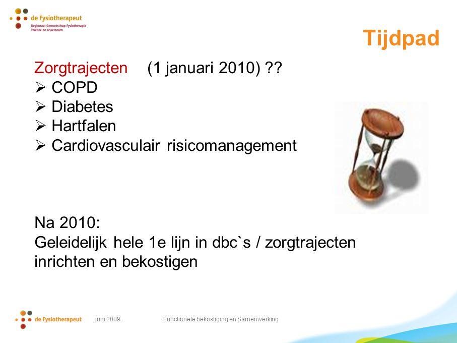 Tijdpad Zorgtrajecten (1 januari 2010) ??  COPD  Diabetes  Hartfalen  Cardiovasculair risicomanagement Na 2010: Geleidelijk hele 1e lijn in dbc`s