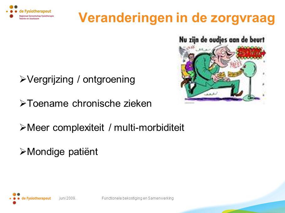 Veranderingen in de zorgvraag  Vergrijzing / ontgroening  Toename chronische zieken  Meer complexiteit / multi-morbiditeit  Mondige patiënt juni 2009.