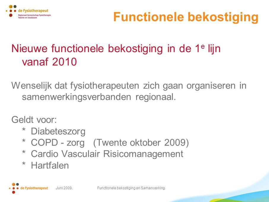 Juni 2009. Functionele bekostiging en Samenwerking Functionele bekostiging Nieuwe functionele bekostiging in de 1 e lijn vanaf 2010 Wenselijk dat fysi