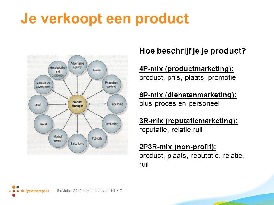 Het product volgens de 2P3R-mix 5 oktober 2010 Maak het verschil 8