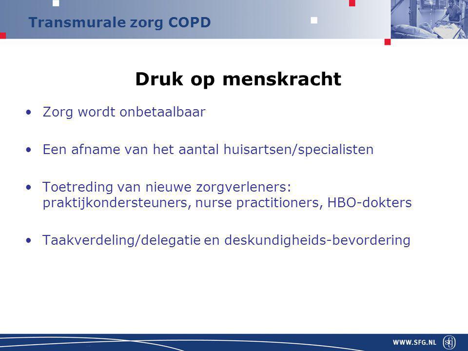 Transmurale zorg COPD Druk op menskracht Zorg wordt onbetaalbaar Een afname van het aantal huisartsen/specialisten Toetreding van nieuwe zorgverleners: praktijkondersteuners, nurse practitioners, HBO-dokters Taakverdeling/delegatie en deskundigheids-bevordering