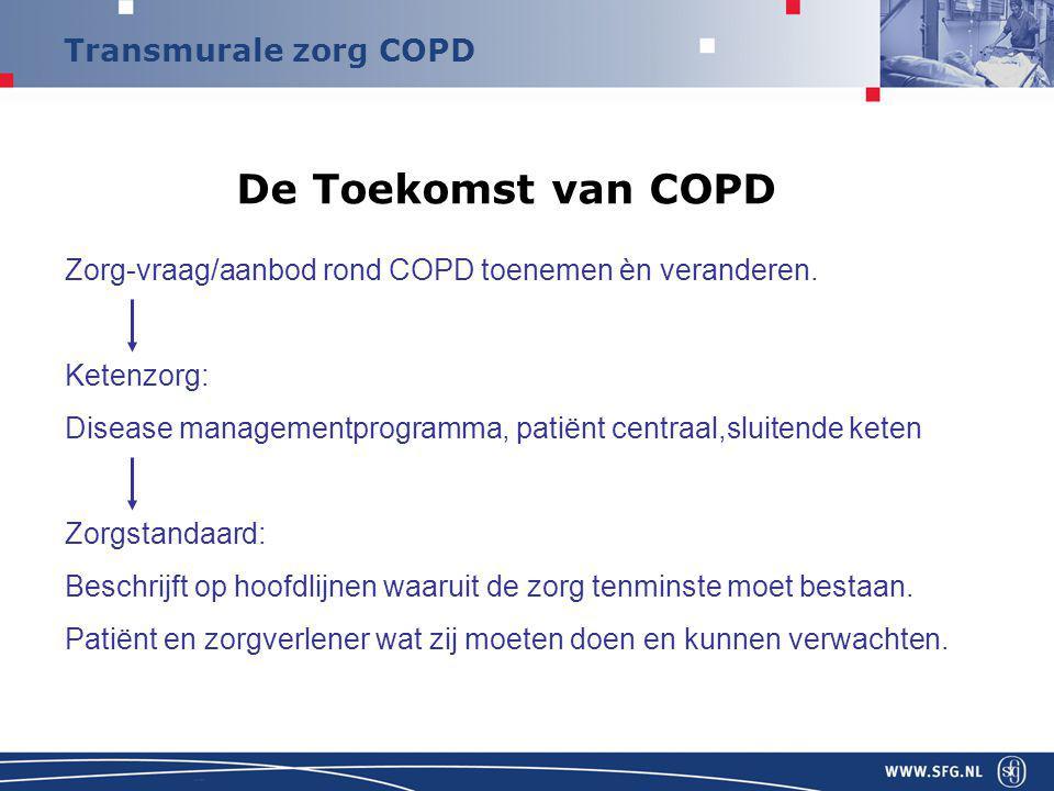 Transmurale zorg COPD De Toekomst van COPD Zorg-vraag/aanbod rond COPD toenemen èn veranderen.