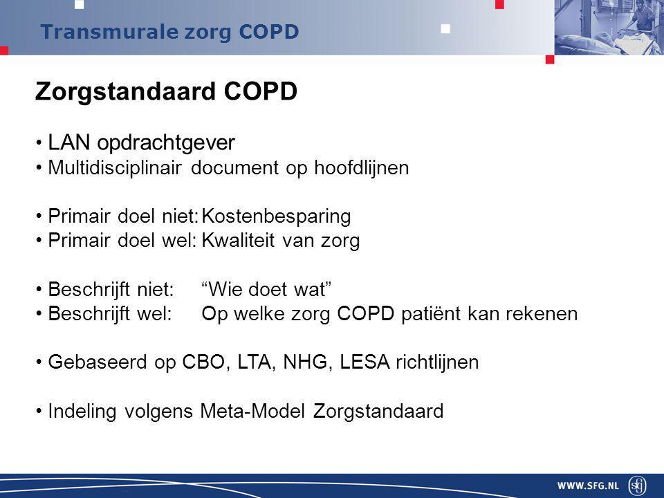 Zorgstandaard COPD LAN opdrachtgever Multidisciplinair document op hoofdlijnen Primair doel niet:Kostenbesparing Primair doel wel:Kwaliteit van zorg Beschrijft niet: Wie doet wat Beschrijft wel:Op welke zorg COPD patiënt kan rekenen Gebaseerd op CBO, LTA, NHG, LESA richtlijnen Indeling volgens Meta-Model Zorgstandaard