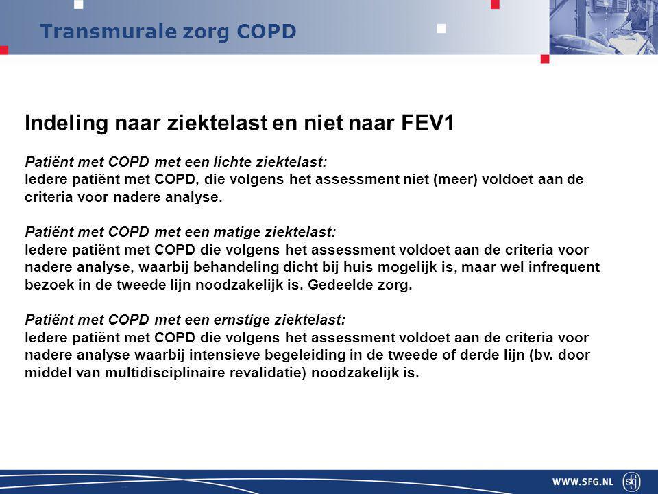 Transmurale zorg COPD Indeling naar ziektelast en niet naar FEV1 Patiënt met COPD met een lichte ziektelast: Iedere patiënt met COPD, die volgens het assessment niet (meer) voldoet aan de criteria voor nadere analyse.