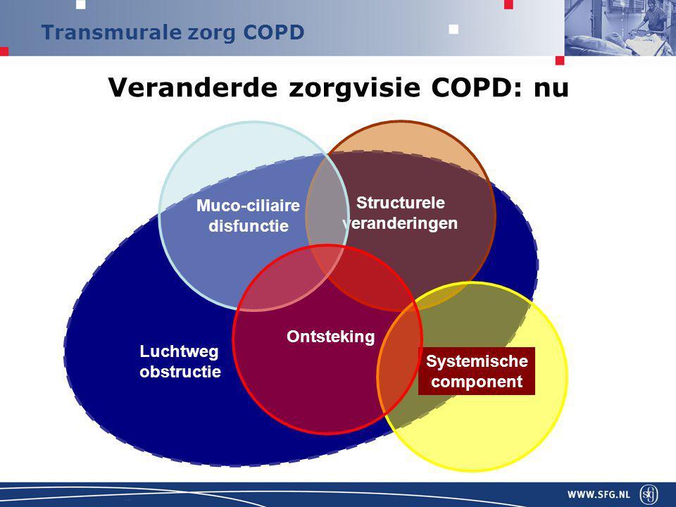 Transmurale zorg COPD Visie op zorg Patiënt als partner in behandeling Dynamisch zorgmodel, patiënt gaat door de lijnen heen , zorgvraag kan van moment op moment wisselen COPD: complexe en heterogene ziekte Algemene (NHG) en persoonlijk behandeldoelen Optimalisatie van de Fysiologische stoornis Adaptatie aan de stoornis (klachten, beperkingen, QoL) Juiste diagnose en ziekteclassificatie (multidimensioneel assessment); Resultante bepaald intensiteit en locatie van de zorg….