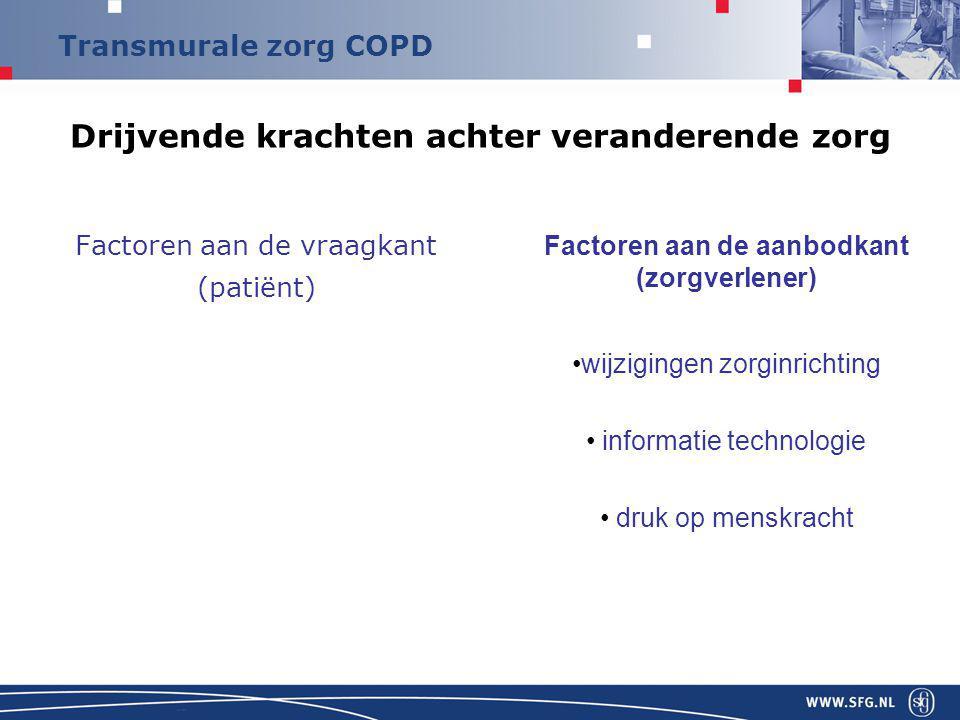 Transmurale zorg COPD Veranderingen in zorginrichting Toverwoord… Functionele of integrale bekostiging ??
