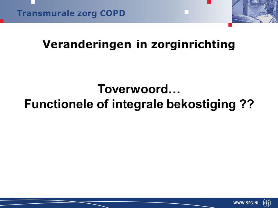 Transmurale zorg COPD stadium 1 mild COPDFEV1/FVC  70% FEV1  80% pred stadium 2 matig COPDFEV1/FVC  70% 50%  FEV1  80% pred stadium 3 ernstig COPDFEV1/FVC  70% 30%  FEV1  50% pred stadium 4 zeer ernstig COPDFEV1/FVC  70% FEV1  30% pred GOLD: classificatie COPD o.b.v.