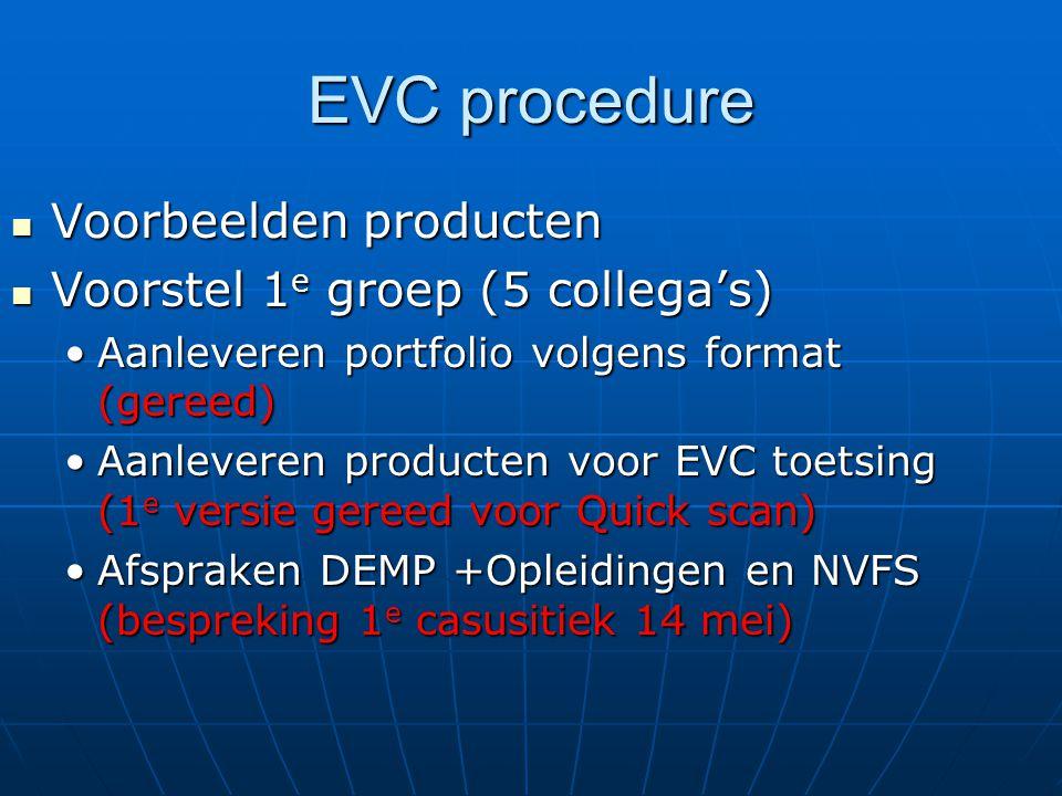 EVC procedure Voorbeelden producten Voorbeelden producten Voorstel 1 e groep (5 collega's) Voorstel 1 e groep (5 collega's) Aanleveren portfolio volgens format (gereed)Aanleveren portfolio volgens format (gereed) Aanleveren producten voor EVC toetsing (1 e versie gereed voor Quick scan)Aanleveren producten voor EVC toetsing (1 e versie gereed voor Quick scan) Afspraken DEMP +Opleidingen en NVFS (bespreking 1 e casusitiek 14 mei)Afspraken DEMP +Opleidingen en NVFS (bespreking 1 e casusitiek 14 mei)