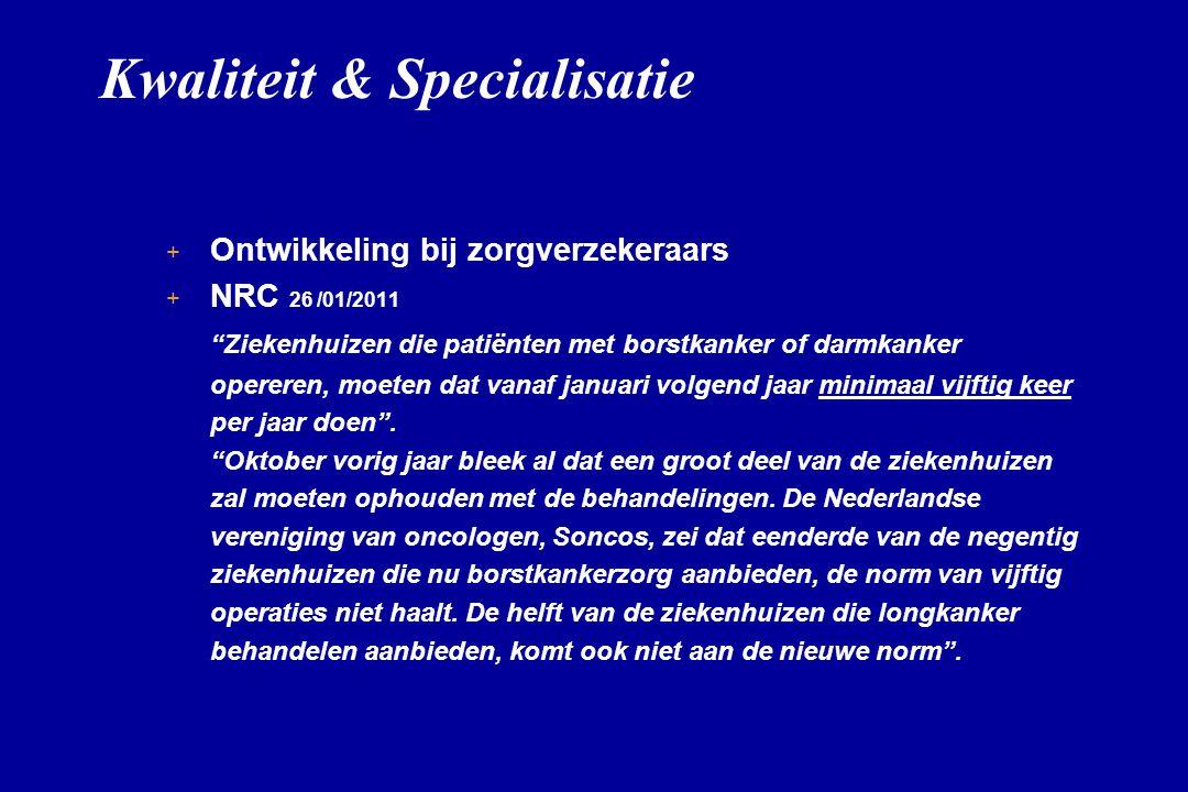 """Kwaliteit & Specialisatie + + Ontwikkeling bij zorgverzekeraars + + NRC 26 /01/2011 """"Ziekenhuizen die patiënten met borstkanker of darmkanker opereren"""