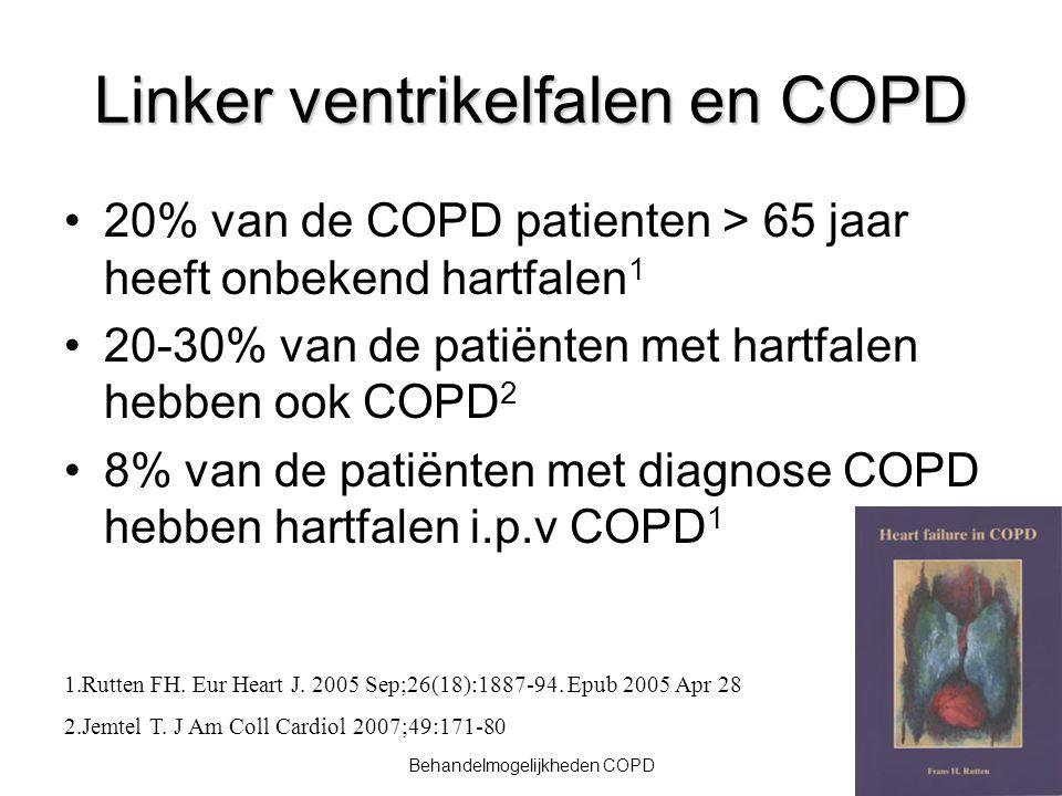 23Behandelmogelijkheden COPD Linker ventrikelfalen en COPD 20% van de COPD patienten > 65 jaar heeft onbekend hartfalen 1 20-30% van de patiënten met