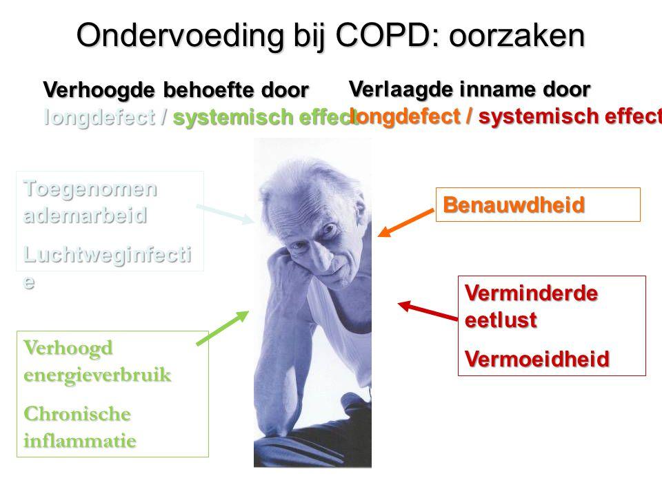 Ondervoeding bij COPD: oorzaken Toegenomen ademarbeid Luchtweginfecti e Verhoogd energieverbruik Chronische inflammatie Benauwdheid Verminderde eetlus