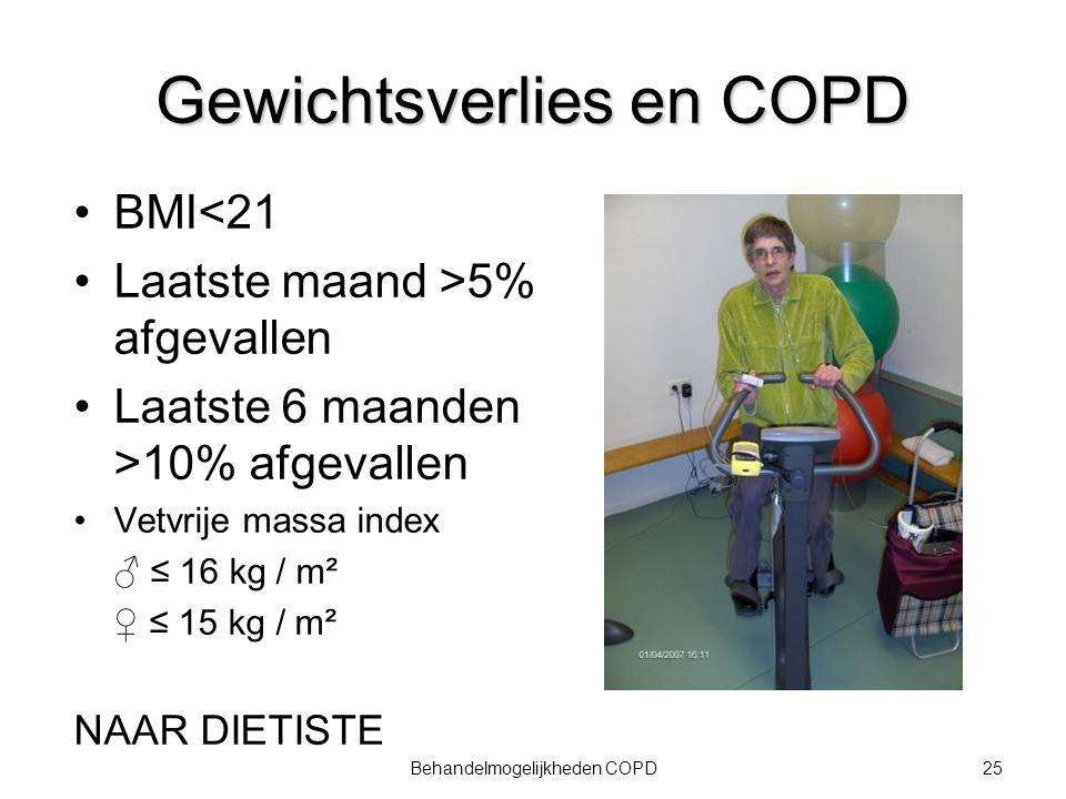 25Behandelmogelijkheden COPD Gewichtsverlies en COPD BMI<21 Laatste maand >5% afgevallen Laatste 6 maanden >10% afgevallen Vetvrije massa index ♂ ≤ 16