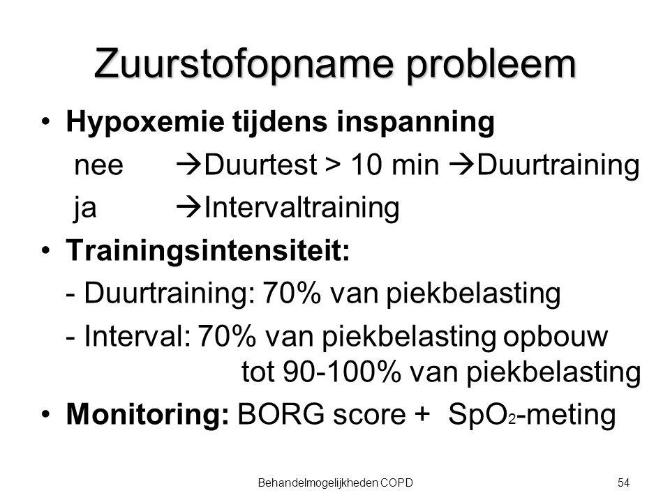 54Behandelmogelijkheden COPD Zuurstofopname probleem Hypoxemie tijdens inspanning nee  Duurtest > 10 min  Duurtraining ja  Intervaltraining Trainin
