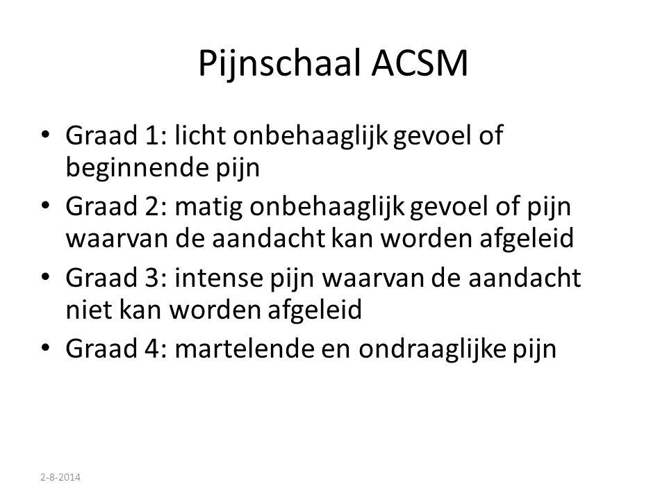 2-8-2014 Pijnschaal ACSM Graad 1: licht onbehaaglijk gevoel of beginnende pijn Graad 2: matig onbehaaglijk gevoel of pijn waarvan de aandacht kan word