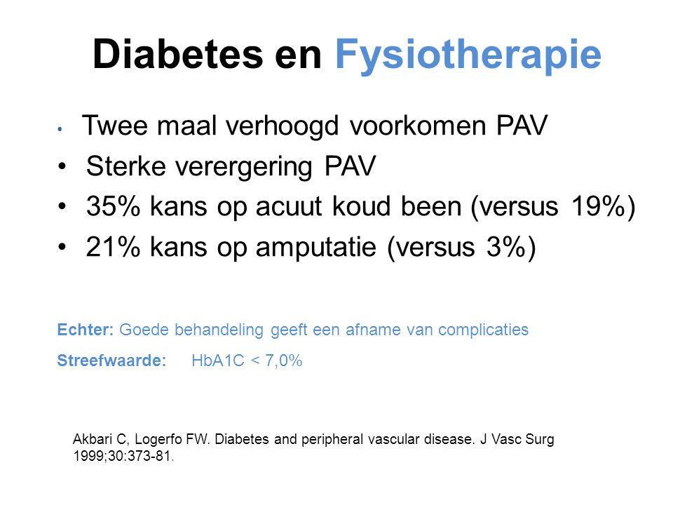 Diabetes en Fysiotherapie Twee maal verhoogd voorkomen PAV Sterke verergering PAV 35% kans op acuut koud been (versus 19%) 21% kans op amputatie (vers