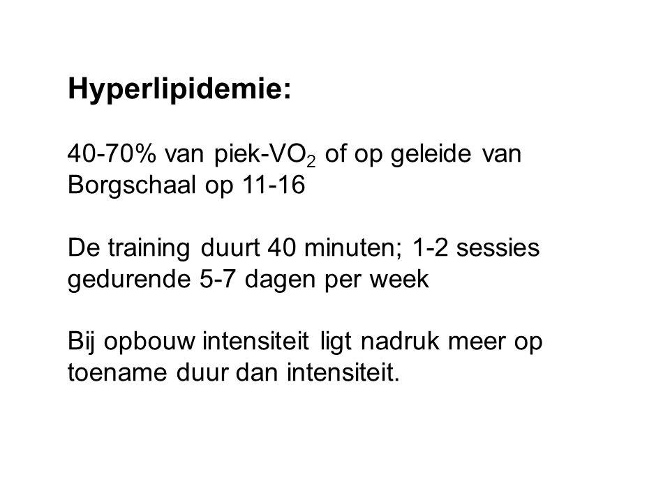 Hyperlipidemie: 40-70% van piek-VO 2 of op geleide van Borgschaal op 11-16 De training duurt 40 minuten; 1-2 sessies gedurende 5-7 dagen per week Bij