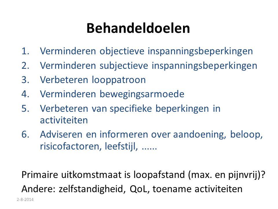 2-8-2014 Behandeldoelen 1.Verminderen objectieve inspanningsbeperkingen 2.Verminderen subjectieve inspanningsbeperkingen 3.Verbeteren looppatroon 4.Ve