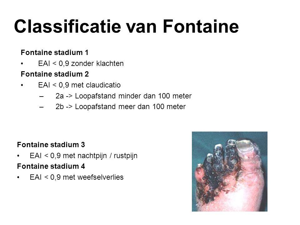 Fontaine stadium 1 EAI < 0,9 zonder klachten Fontaine stadium 2 EAI < 0,9 met claudicatio –2a -> Loopafstand minder dan 100 meter –2b -> Loopafstand m
