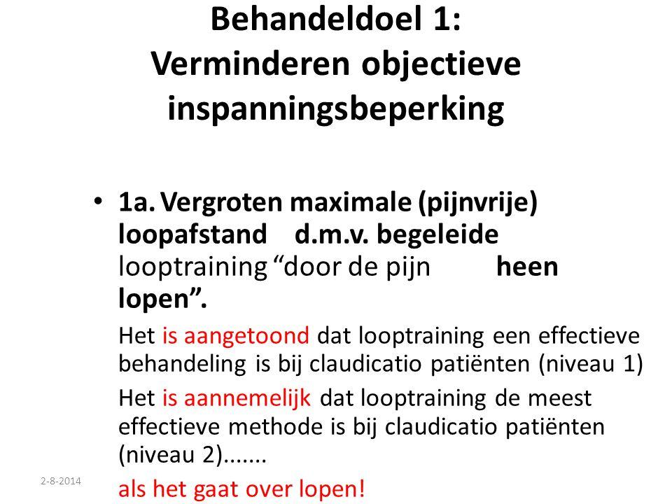 """2-8-2014 Behandeldoel 1: Verminderen objectieve inspanningsbeperking 1a.Vergroten maximale (pijnvrije) loopafstand d.m.v. begeleide looptraining """"door"""