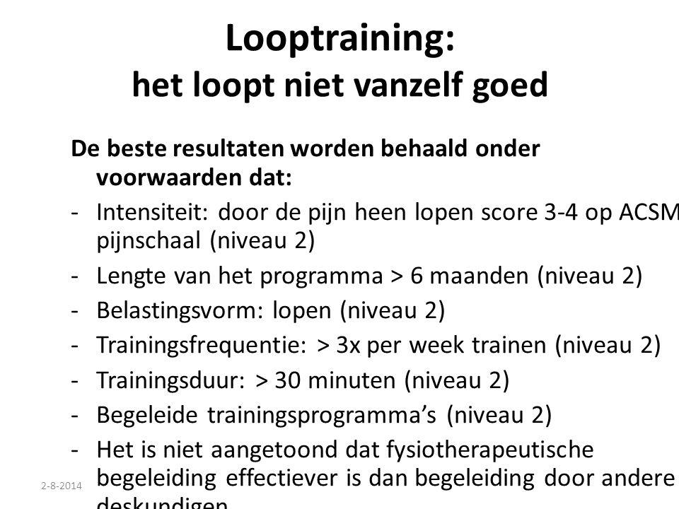 2-8-2014 Looptraining: het loopt niet vanzelf goed De beste resultaten worden behaald onder voorwaarden dat: -Intensiteit: door de pijn heen lopen sco