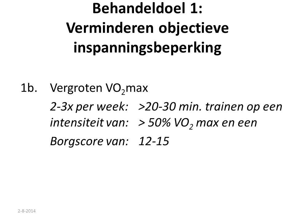 2-8-2014 Behandeldoel 1: Verminderen objectieve inspanningsbeperking 1b.Vergroten VO 2 max 2-3x per week: >20-30 min. trainen op een intensiteit van:>