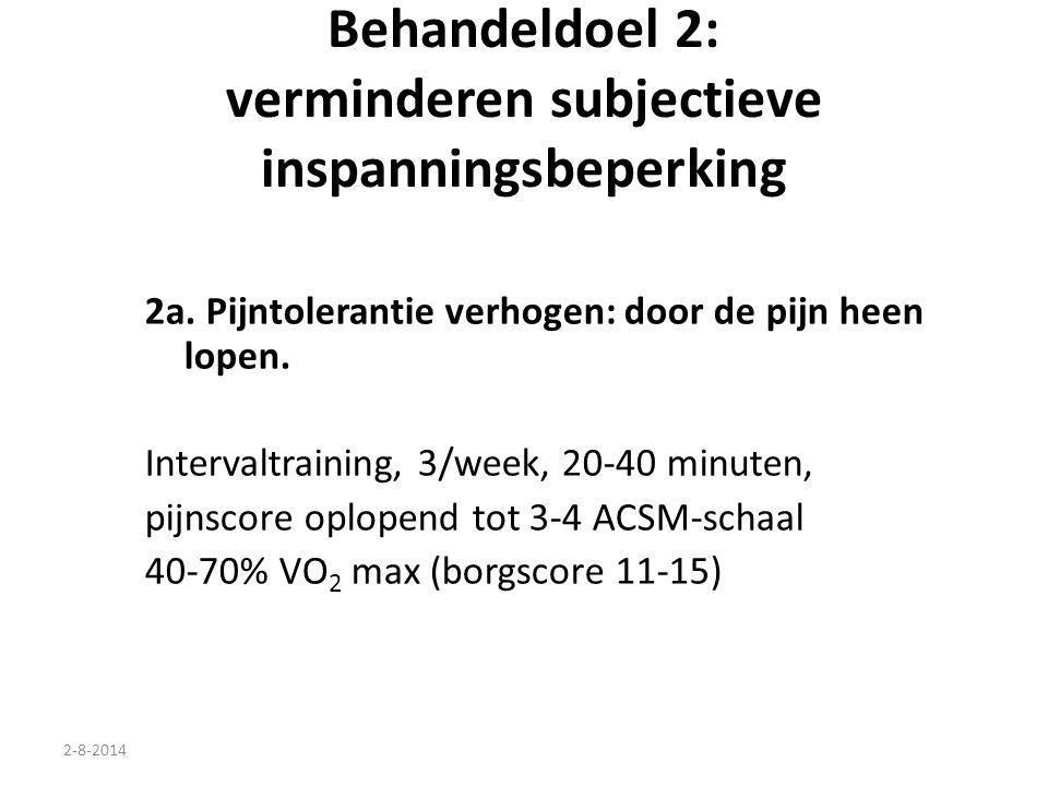 2-8-2014 Behandeldoel 2: verminderen subjectieve inspanningsbeperking 2a. Pijntolerantie verhogen: door de pijn heen lopen. Intervaltraining, 3/week,